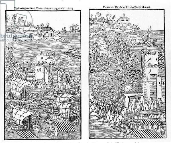 The capture of Rhodes by the Turks in 1522. The Turks attack the fortress of St. Nicholas. Xylography.