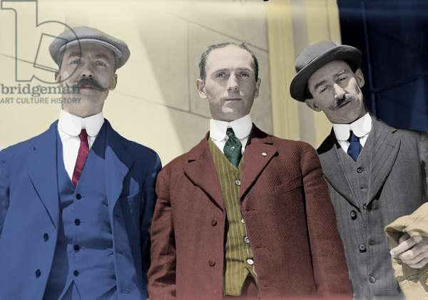 Titanic Disaster, 1912: Portrait of Frederick Dent Ray, steward of the 1st class lounge, and two other passengers of the ship, which will wreck. Photography