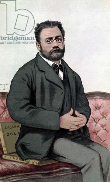 "Portrait of Emile Zola (1840-1902) - in """" Vanity Fair"""""" of 24/1/1880."