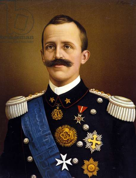 King of Italy Victor Emmanuel III (Victor-Emmanuel) (Vittorio Emanuele) (1869-1947). Chromolithography.