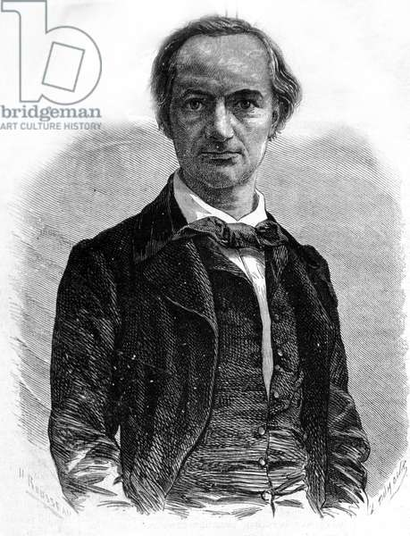 Portrait of the poet Charles Baudelaire (1821-1867) Engraving of the 19th century