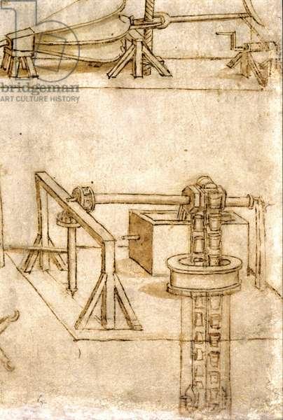 Hydraulic machine (noria) by Leonardo da Vinci (Leonardo da Vinci) (1452 - 1519).