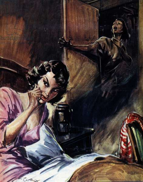 Premonitory dream of a young woman who saw her friend Doris Harrison asking for help. She told the police about her dream which allowed her to find Doris's body at her husband who had murdered her. Illustration by Vittorio Pisani, 1957.