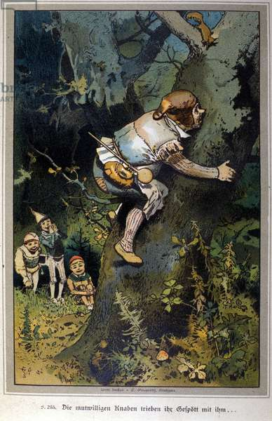 The daring boy was the laughing stock of all. Tale of Brothers Jacob Grimm (1785-1863) and Wilhelm Grimm (1786-1859). Illustration of Vogel.