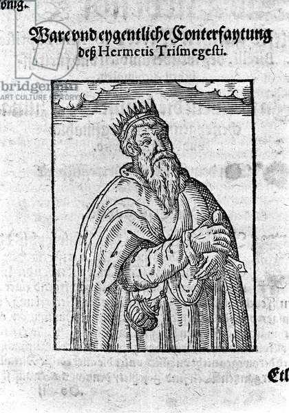 "Portrait of Hermes Trimegiste (Trismegistus), astrologer. Engraving from ""Alchimia Nova"" by Giovanni Battista Birelli, 1654."