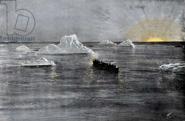 View of a lifeboat loaded with survivors of the Titanic during the sinking on the morning of 15/04/1912, among the icebergs. Illustration