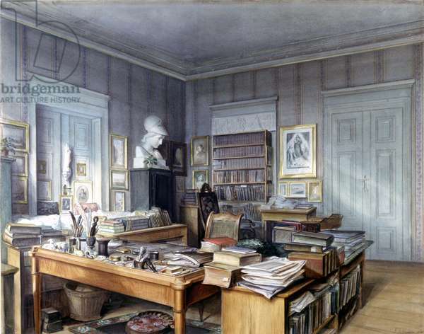 Workroom of Wilhelm Grimm (1786 -1859) in Berlin, 7 Linkstrasse. Engraving by Mr. Hoffmann. Nationalmuseum, Nuremberg. 1860.