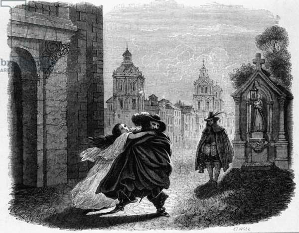 Giovanni and Donna Anna, scene from 'Don Giovanni' (engraving)