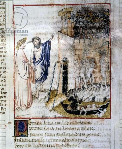 "The Entrance of the Underworld - in ""The Divine Comedy"""" by Dante Alighieri, miniature of a 14th century manuscript, Bibl. Municipal of Rimini."