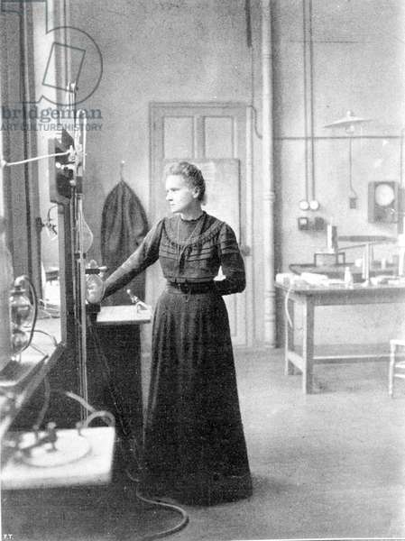 Marie Curie in her laboratory.