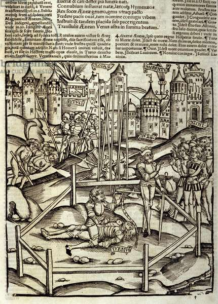 Eneide de Virgil (70 BC-19 BC), Book XII, the Trojan heros Enee kills in a Turnus battle under the eyes of the Latins and Rutules. Xylography by Sebastian Brant (1458-1521). Strasbourg, 1502