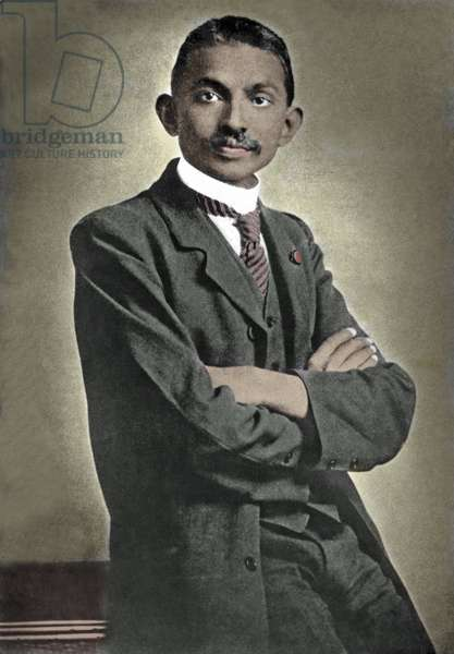 Portrait of political leader Mohandas Karamchand Gandhi (1869-1948) known as the Mahatma, Indian political and spiritual leader, 1883 Photography