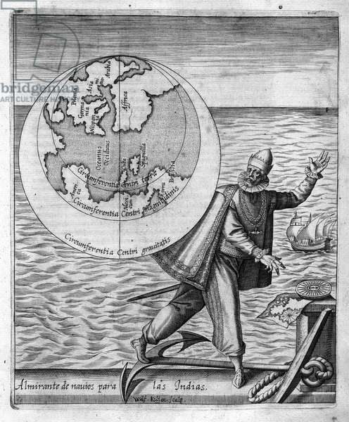 "Christopher Columbus (Cristoforo Colombo) - in ""Nova Tipus Transacto Navigatio Novi Orbi"" by Philoponus Honorius, 1621."