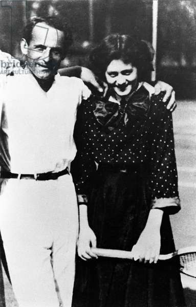 Portrait of journalist Milena Jessenk (Jesenska) Polak (1896 - 1944) with an unknown man. She was the translator of the works of Franz Kafka and his muse. They maintained an epistolar affair.