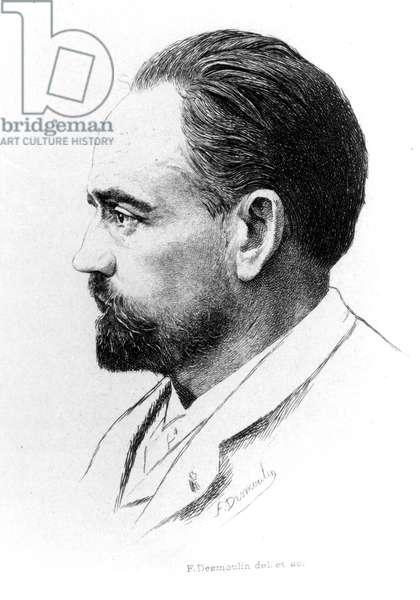 Portrait of Emile Zola by F. Desmoulin.