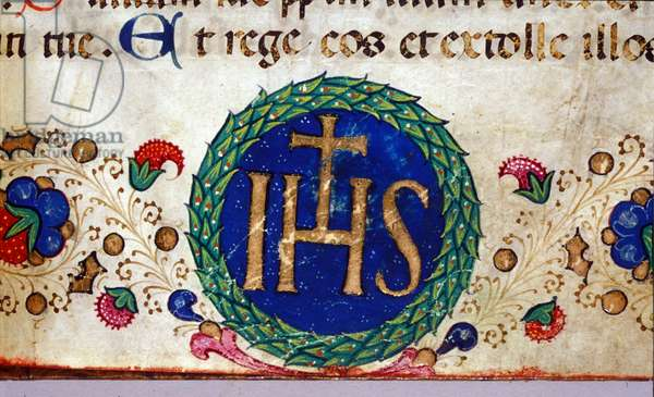 IHS Christian symbol whose meaning is Jesus. 15th century manuscript.