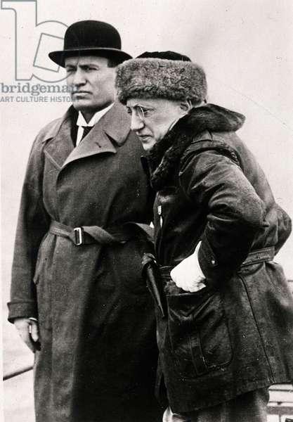 Benito Mussolini and the writer Gabriele D'Annunzio, c.1930 (b/w photo)