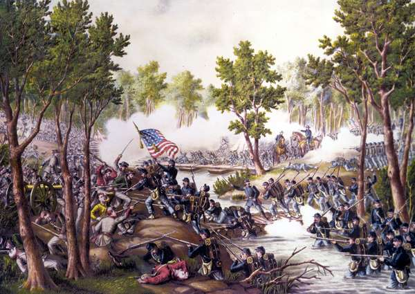 American Civil War (1861 - 1865): Battle of Spotsylvania Courthouse (Virginia) May 08-21, 1864. Engraving of the 19th century.