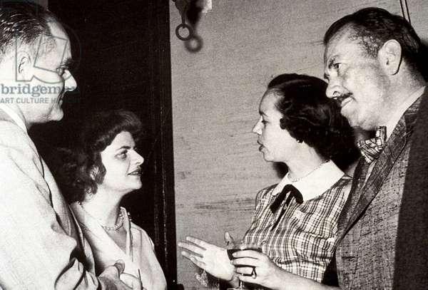 Alberto Moravia (1907-1990, Elsa Morante (1918-1985), John Ernest Steinbeck (1902-1968) with his wife Elaine.