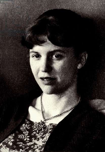 Portrait of American writer Sylvia Plath (1932-1963).