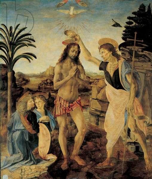 The Baptism of Christ around 1475 - 1478 by Andrea del Verrocchio (1436-1488) and Leonardo da Vinci (Leonard of Vinci) (1452-1516), Oil and tempera on wood, 177 x 151 cm - Uffizi Gallery, Florence Raphael