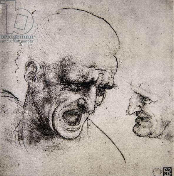 Leonardo da Vinci (Leonardo da Vinci) (1452 - 1519): Study for the Battle of Anghiari (Immagina)