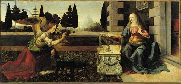 The Annunciation, 1472 - 1475, 98x217 cm, by Leonardo da Vinci (Leonardo da Vinci) (1495-1497) - Uffizi Museum in Florence.