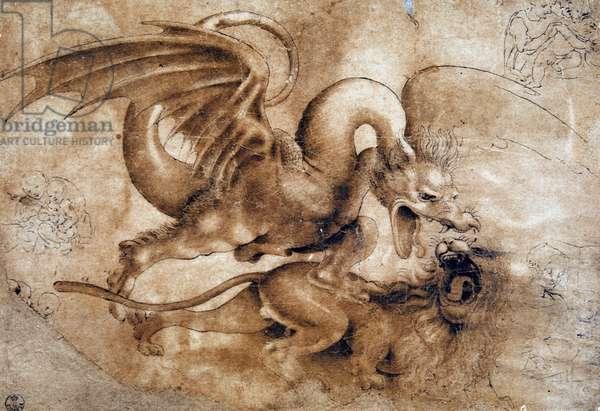 Leonardo da Vinci (Leonardo da Vinci) (1452 - 1519): Fight between a lion and a dragon, GDSU 435 E (Immagina)