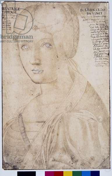 Portrait of Beatrice d'Este (1475-1497) Drawing in the style of Leonard (Leonardo da Vinci) (1452-1519) Galleria degli Uffizi, Florence (Immagina)