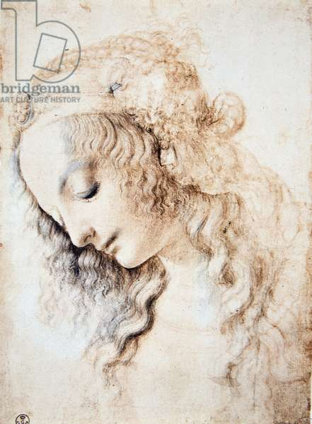 Leonardo da Vinci (Leonardo da Vinci) (1452 - 1519): Portrait of a girl with closed eyes and head down with her hair adorned with a band enriched with jewellery (Immagina)