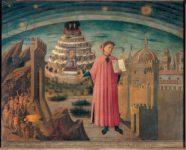 Dante Alighieri and his comedy. Portrait of Dante holding in hand the divine comedy (Divina commedia). Near him, hell, and the city of Florence, deep purgatory and paradise. Painting by Domenico di Michelino (1417-1491), 1465 Cathedrale Santa Maria del Fiore, Florence. (Duomo, Firenze)