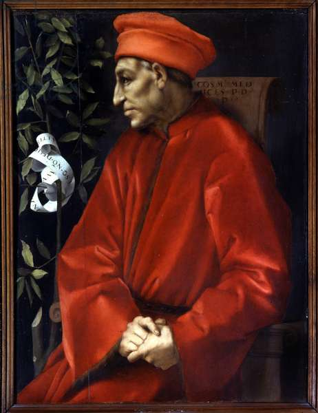 Portrait of Cosimo (Cosimo de Medici), known as Cosimo the Old Medici (1389-1464) painting by Jacopo (Iacopo) Carrucci dit il Pontormo (Pontormo) (1494-1556), Florence, Uffizi Museum.