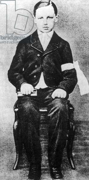 Portrait of the French poet ARTHUR RIMBAUD (1854-1891) on the day of his communion