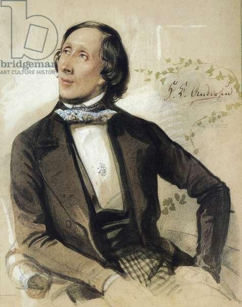 Portrait of the Danish Writer Christian Andersen (1805-1875) Painting by Karl Hartmann 1845 Odense Museum Denmark
