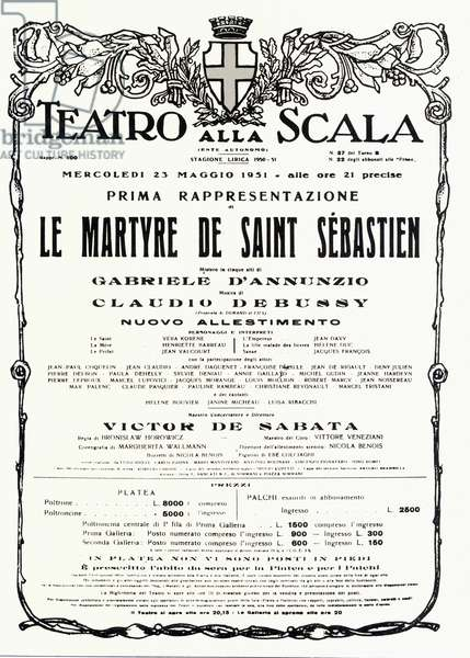 """Poster for the first representation of """"The martyrdom of Saint Sebastian"""" by Claude Debussy and Gabriele d'Annunzio (1863-1938) directed by VICTOR DE SABATA at the Teatro alla scala in Milan in 1951"""