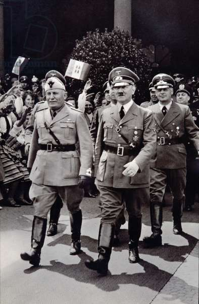 Second World War (1939-1945): Benito Mussolini (1883-1945) met Adolf Hitler (1889-1945) at Berlin Station in 1939.