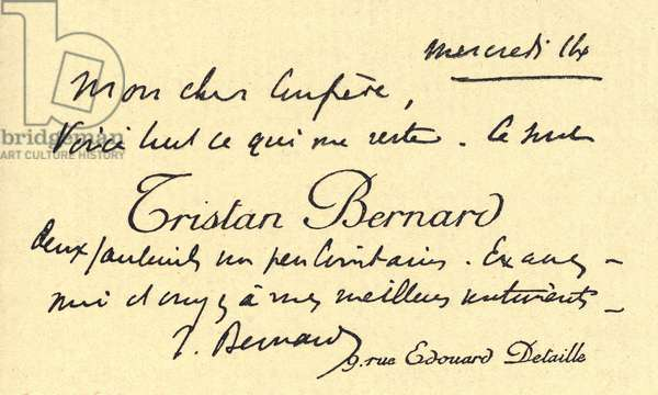 A business card of the French writer Tristan Bernard addressed to his friend the writer Camillo Antona Traversi (1857-1934)