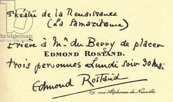 Business card of the French writer Edmond Rostand addressed to the Italian writer Camillo Antona Traversi (1857-1934)