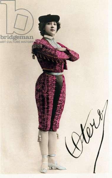 Portrait of Caroline (La Belle) Otero (1868-1965) dreged as a bullfighter, 20th century Photo Reutlinger
