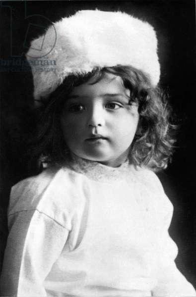 Portrait of Alexei (Alexis) Nicolaevich Romanov (1904-1918), son of Tsar Nicholas II of Russia. Photography. About 1910