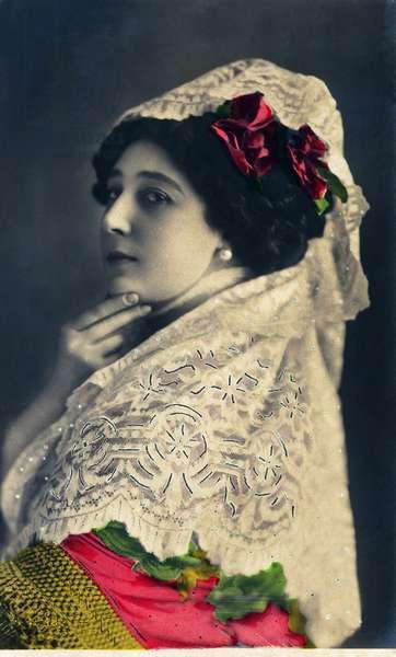 Portrait of Caroline (La Belle) Otero (1868-1965) dreged in Carmen for the opera by Bizet, photo Reutlinger 20th century