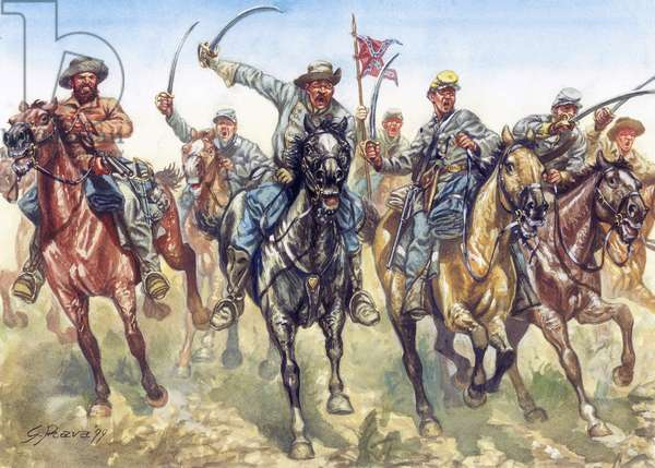 Secession War (1861-1865) - American civil war: the confederate cavalry charging - Illustration by Giuseppe Rava