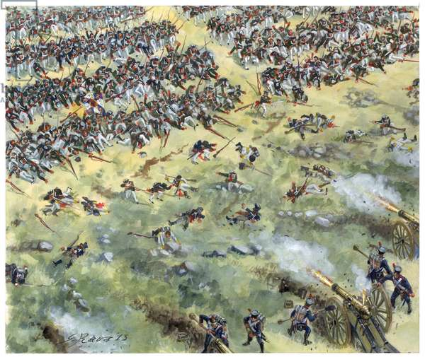 First empire, German campaign: Russian line infantry defeated at the Battle of Leipzig in October 1813 - First empire, German campaign: russian line infantry defeated by french army during battle of Leipzig (Battle of the Nations), october 1813 - Illustration by Giuseppe Rava