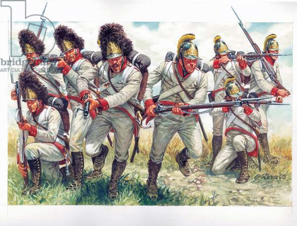 First empire: Grenadiers of the Austrian infantry in 1809 - First empire: grenadiers of the Austrian infantry 1809 - Illustration by Giuseppe Rava