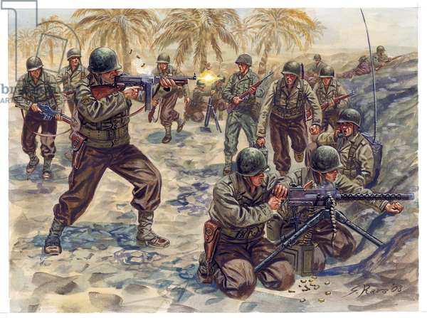 Second World War, Tunisia Campaign: American Infantry Offensive in the Battle of Tunisia, 1942-1943 - WWII, Tunisia Campaign: american offensive during Battle of Tunisia, 1942-1943 - Illustration by Giuseppe Rava