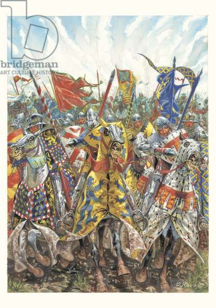 Charge of the French Knights at the Battle of Azincourt (25 October 1415), (illustration)