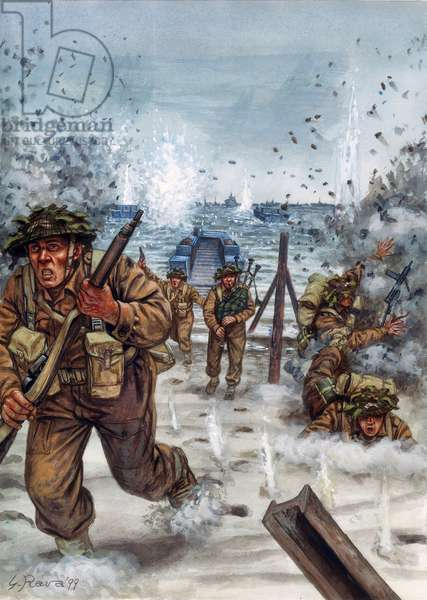 Deuxieme guerre mondiale : soldats ecossais lors du debarquement en Normandie le 6/06/1944 - WWII, D day :  Scottish soldiers the day of landing in Normandie, 6 june 1944 - Illustration by Giuseppe Rava