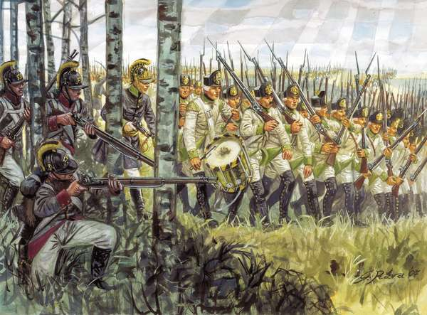 First empire: soldiers of the Austrian infantry in advance around 1798 - 1805 - First empire: soldiers of the austrian infantry marching, 1798-1805 - Illustration by Giuseppe Rava