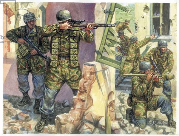 """World War II: German paratroopers nicknamed """"Green Devils"""" at the Battle of Monte Cassino in 1944 - WWII: Battle of Monte Cassino in 1944, the german paratroopers (Fallschirmjager) known as the """"green devils"""""""" - Illustration by Giuseppe Rava"""
