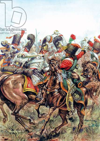 Battle of Austerlitz on 2/12/1805, battle between the soldiers of the Great Army and the Russians and Austrians - Austerlitz battle, 2nd December 1805, between Napoleon I army against russian and austrian armies - Illustration by Giuseppe Rava